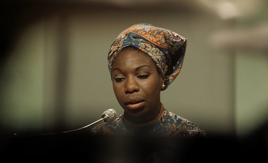 Nina Simone performs on a television show at BBC Television Centre in London in 1966