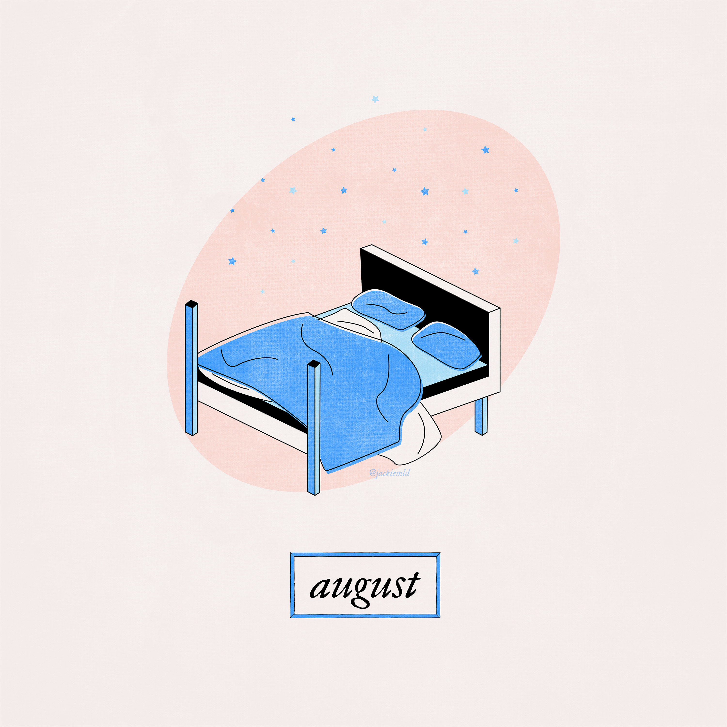 An unmade bed with tiny stars swirling around it