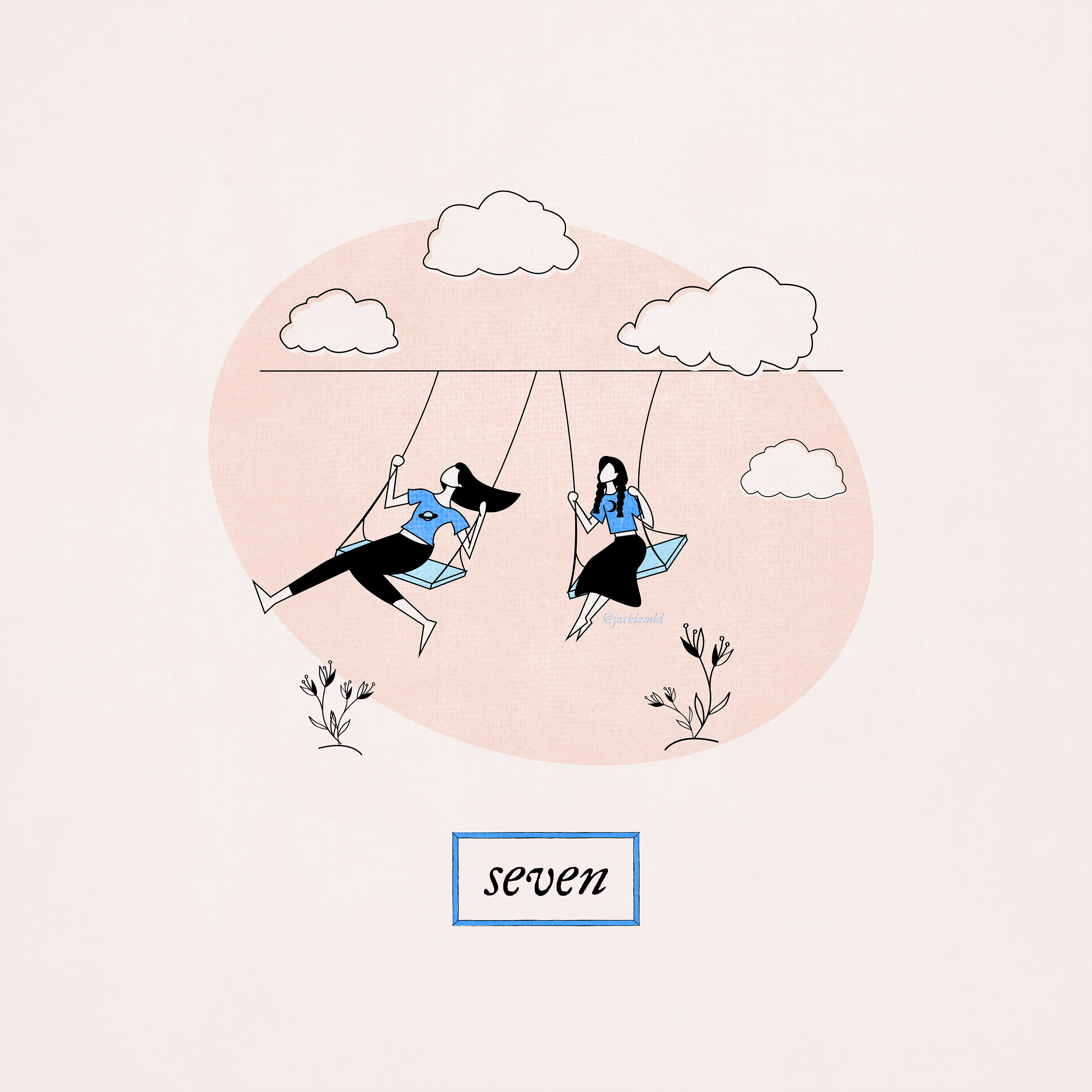 Two girls, one with long straight hair and one with braids, swinging next to each other on swings with clouds in the sky