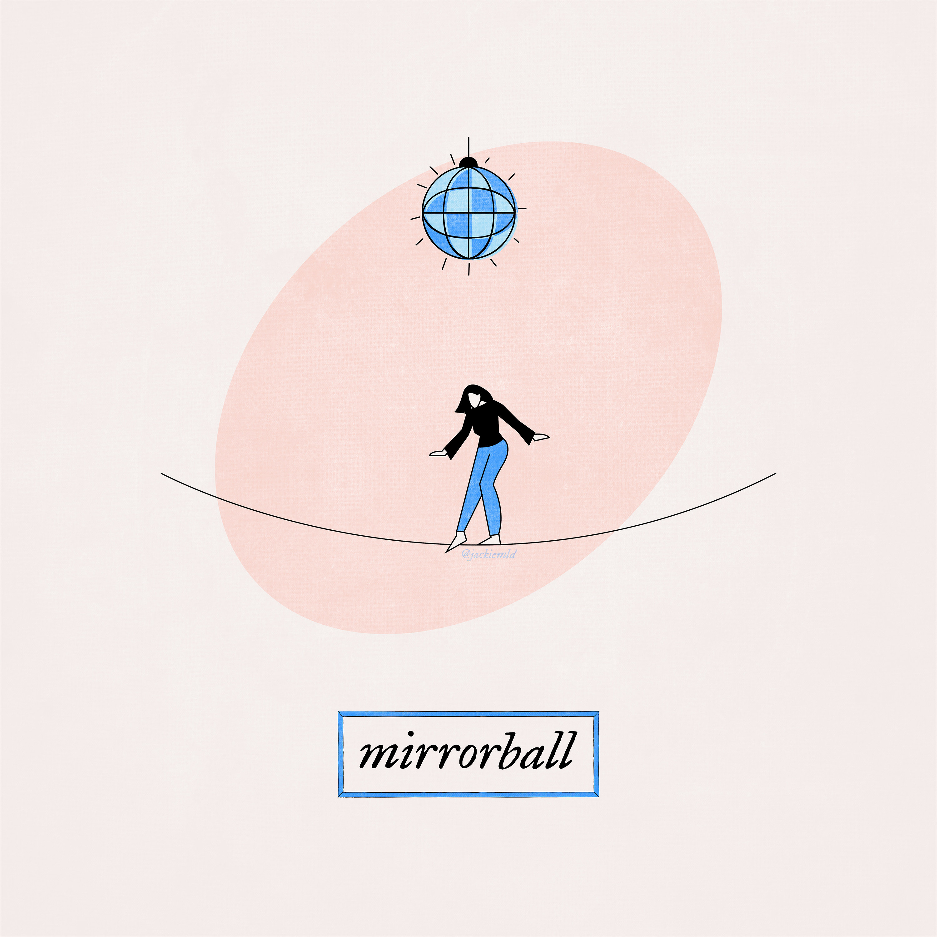 a girl walking across a tightrope with a disco ball hanging above her