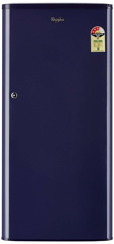 A blue Whirpool refridgerator