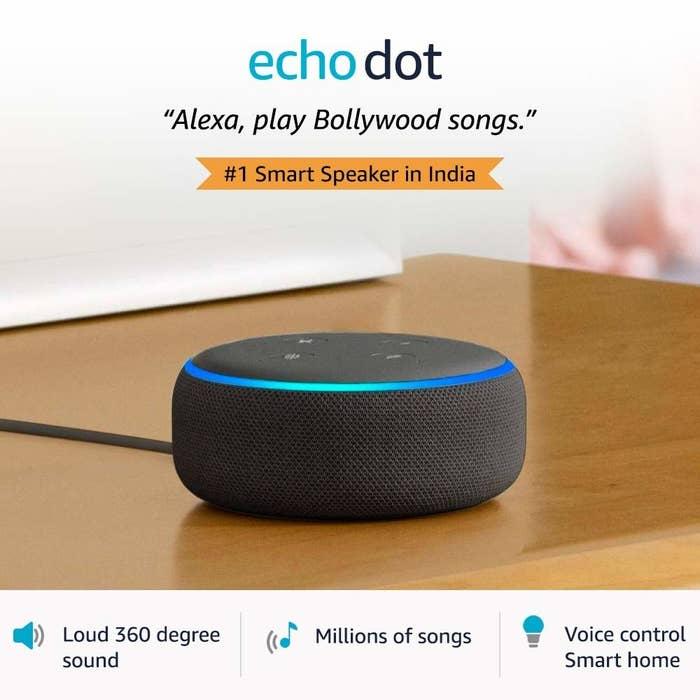 An Amazon Echo Dot on the table