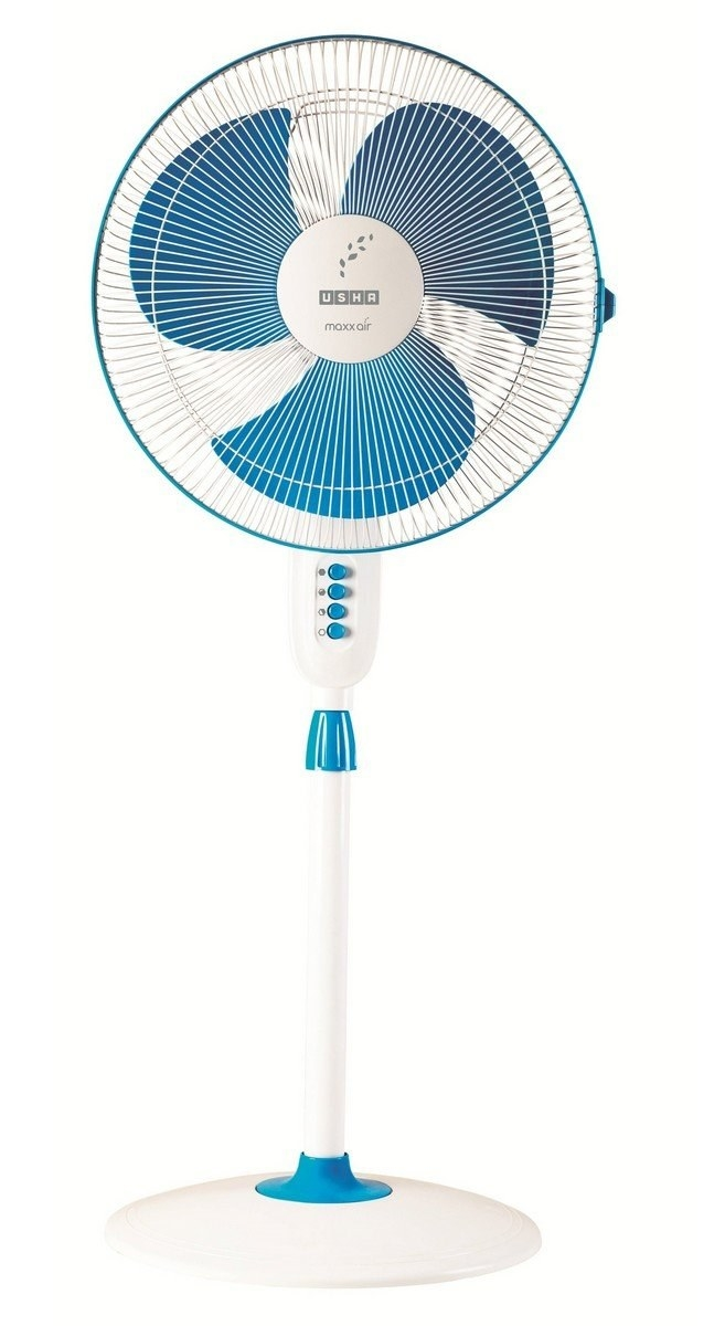 A blue and white fan