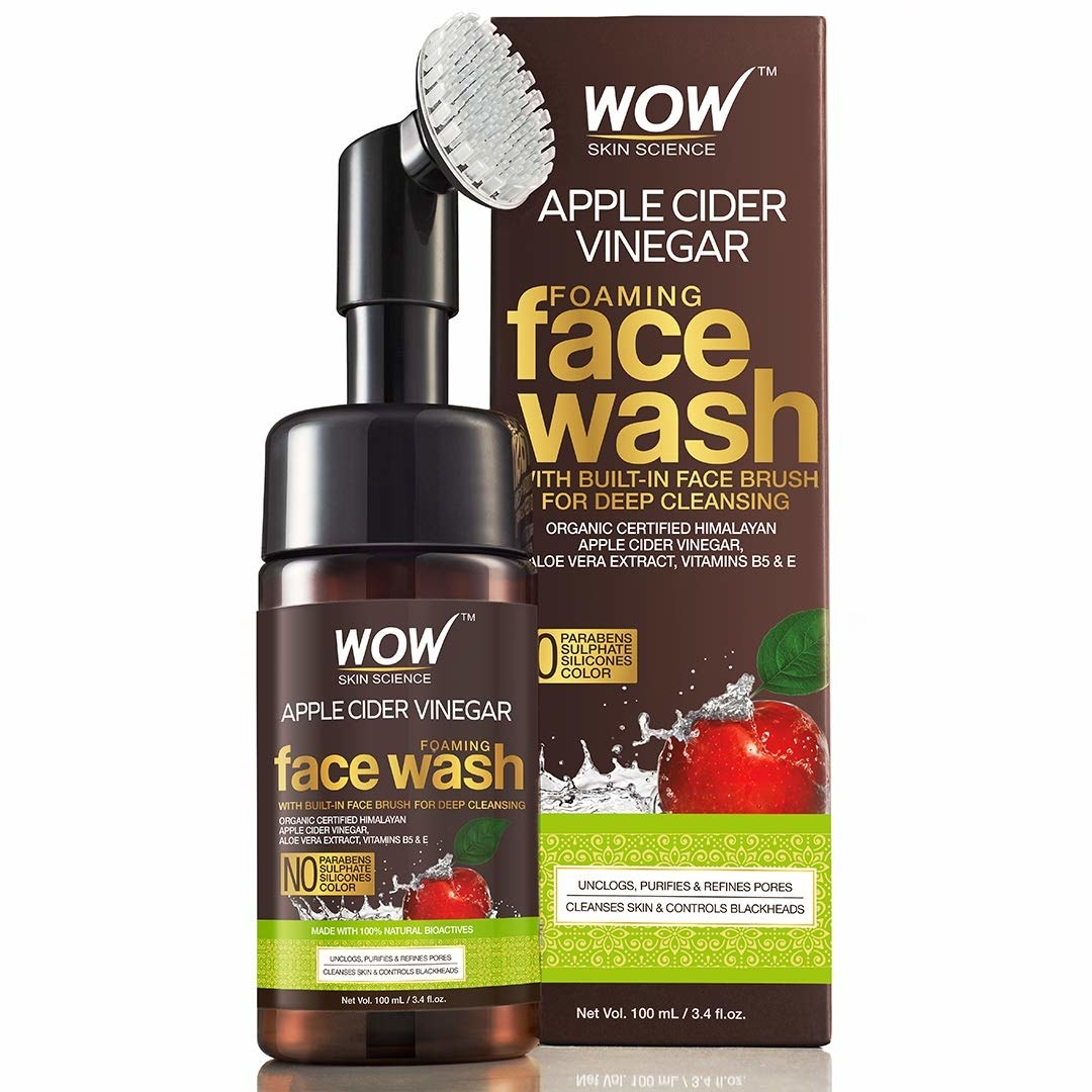 The foaming face wash with a silicone applicator brush on the top