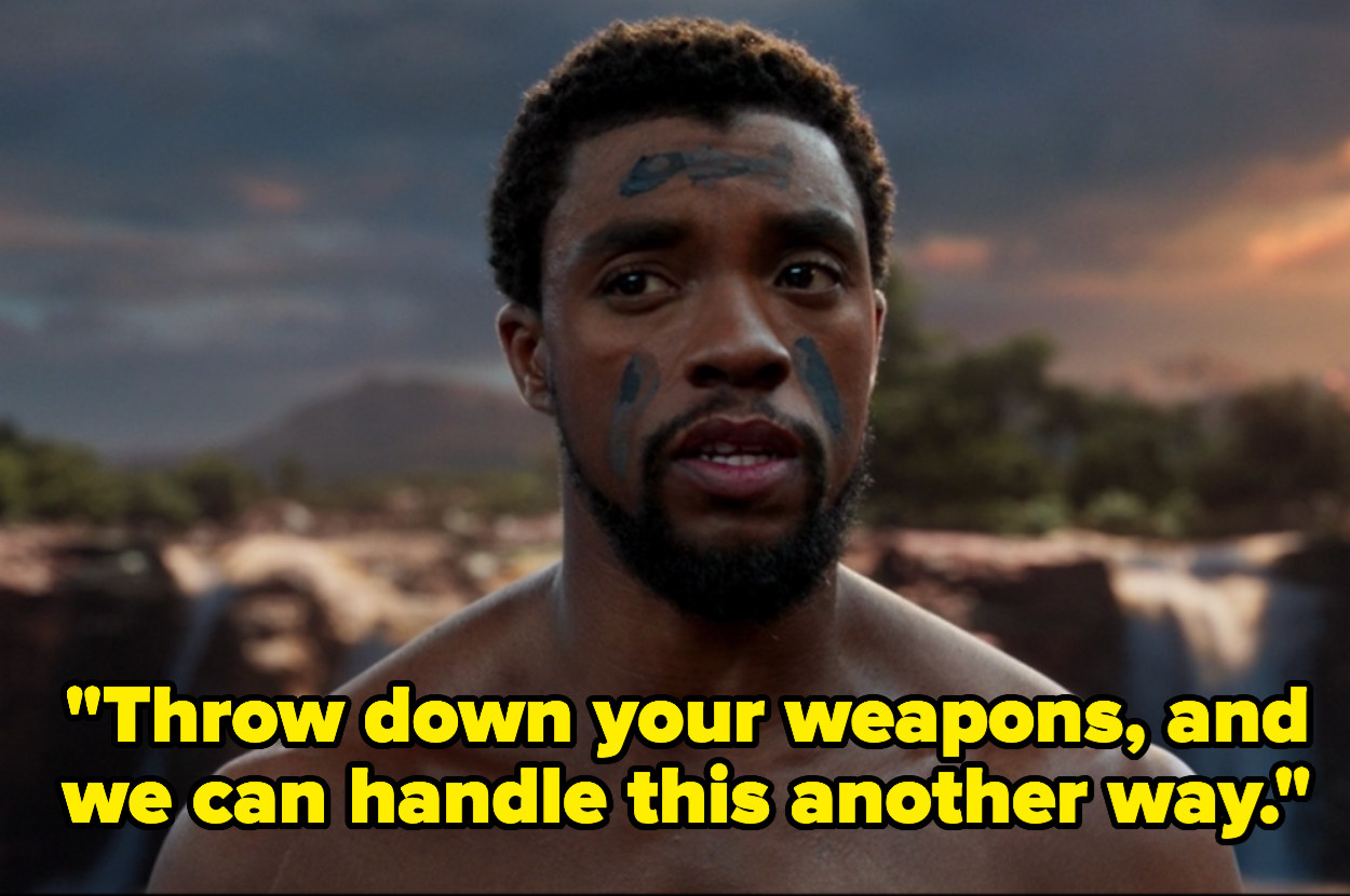 "T'Challa saying, ""Throw down your weapons and we can handle this another way."""