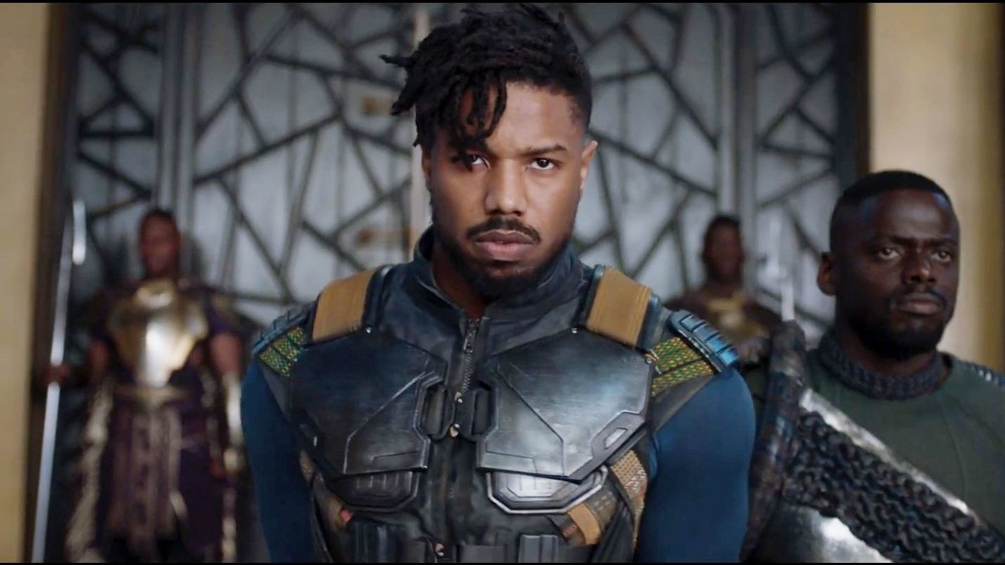"Michael B. Jordan playing Erik Killmonger in ""Black Panther"""