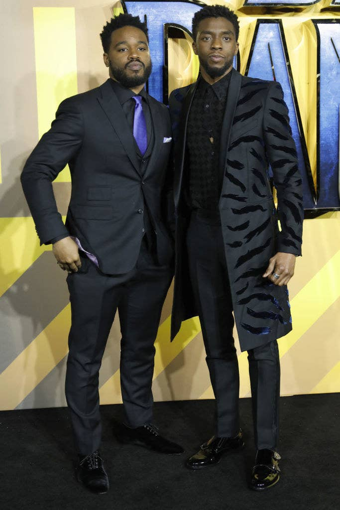 "Ryan Coogler and Chadwick Boseman posing together at the London premiere of ""Black Panther"""