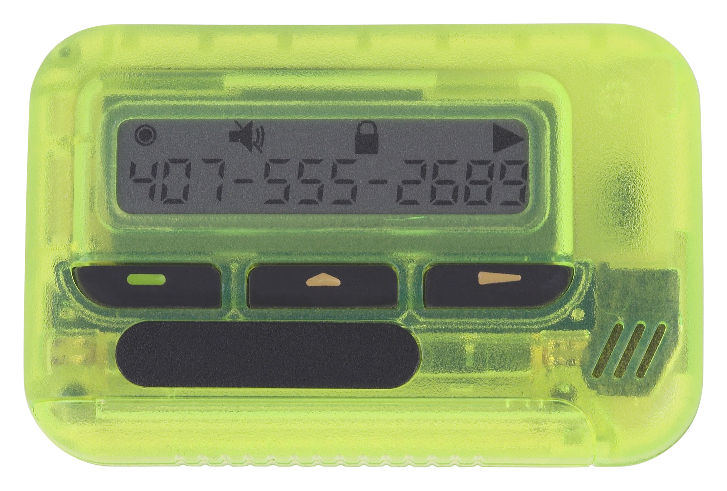 A lime green transparent pager