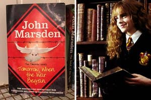 Side by side image showing the front cover of the first book next to Hermione Granger reading a book and smiling