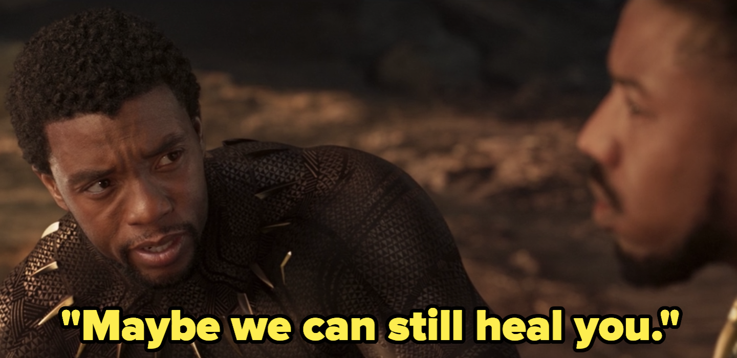 "T'Challa saying, ""Maybe we can still heal you."""