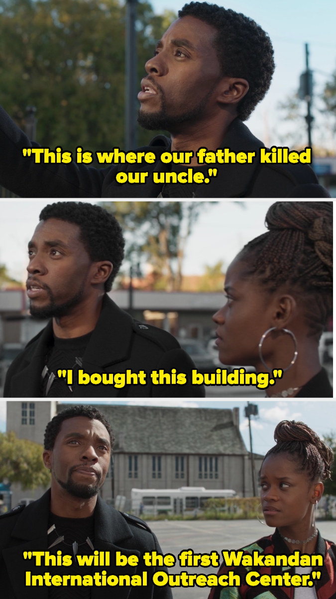 "T'Challa telling Shuri, ""This is where our father killed our uncle. I bought this building. This will be the first Wakandan International Outreach Center,"""