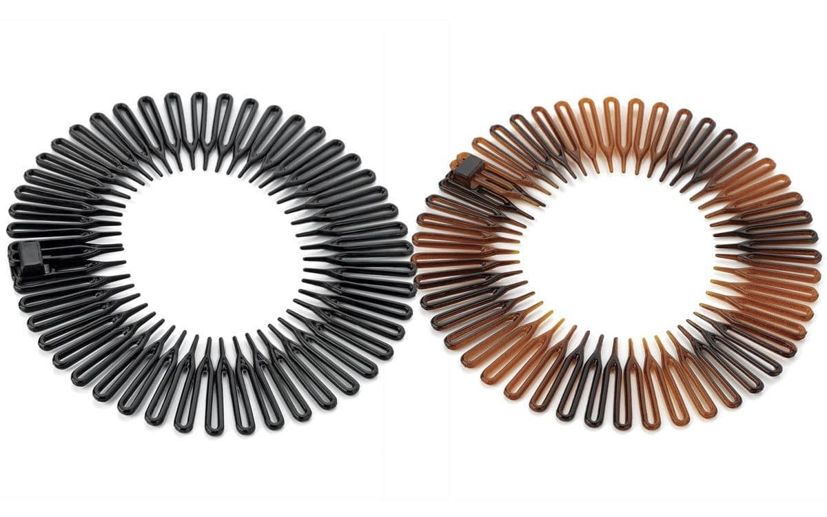 One black and one tortoise shell colored caravan spring headband