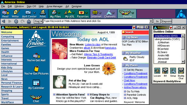 A screen grab of an AOL homepage in 1999