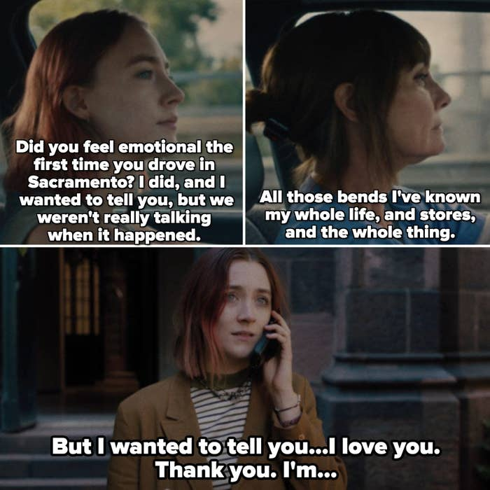 Lady Bird leaving her mom a voicemail outside of a church in New York City