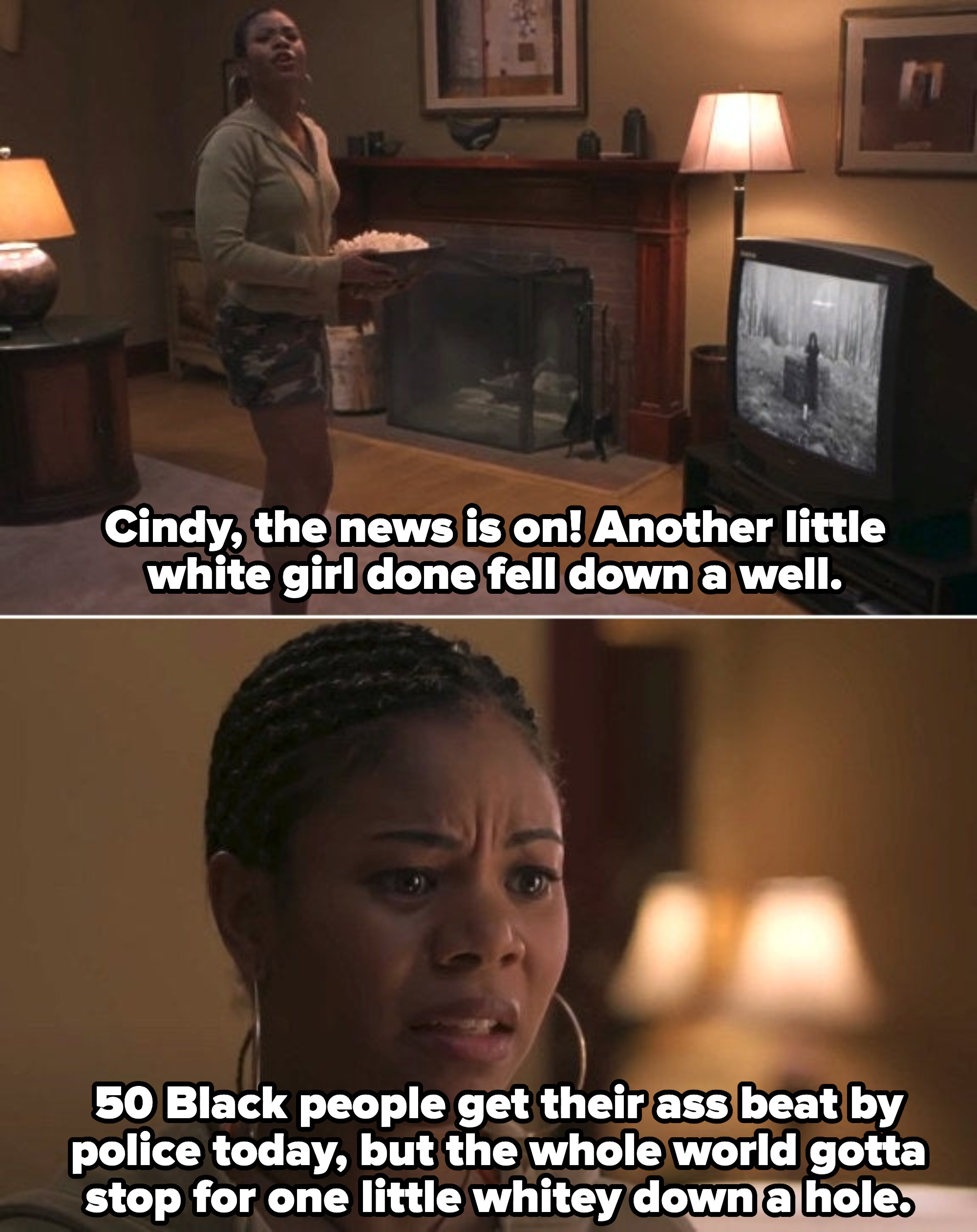 Brenda watching the news and telling Cindy a white girl fell down the well