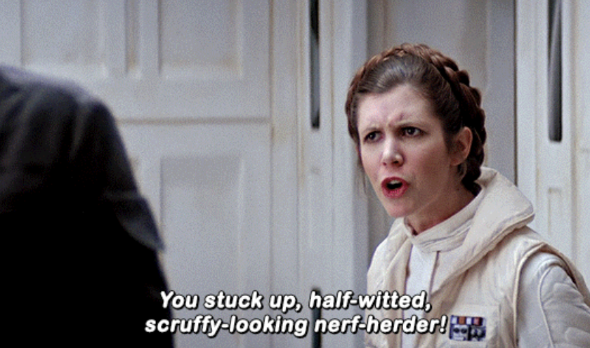 Leia angrily telling Han he's a scruffy-looking nerf-herder
