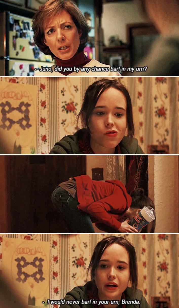 Brenda asking Juno if she barfed in her urn, which she did