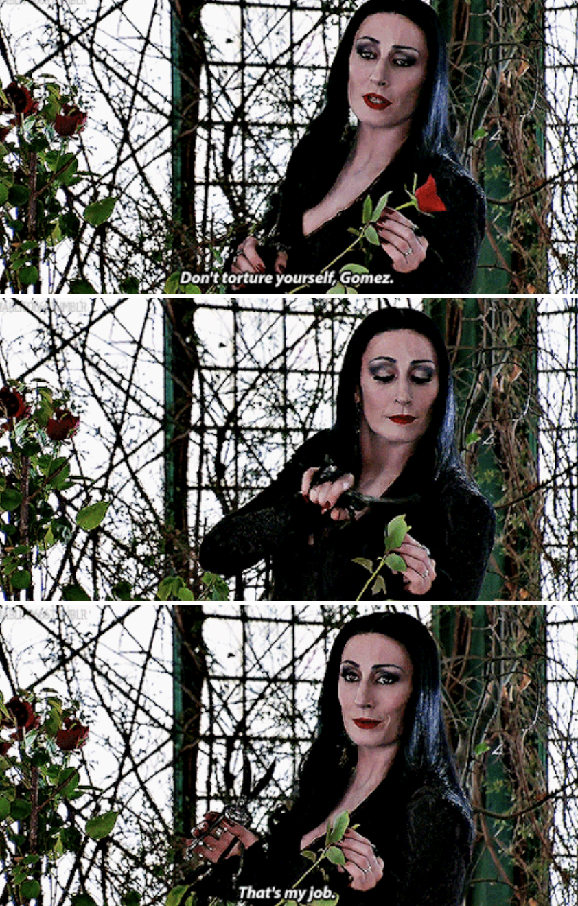 Morticia cutting a rose in her house, telling Gomez not to worry