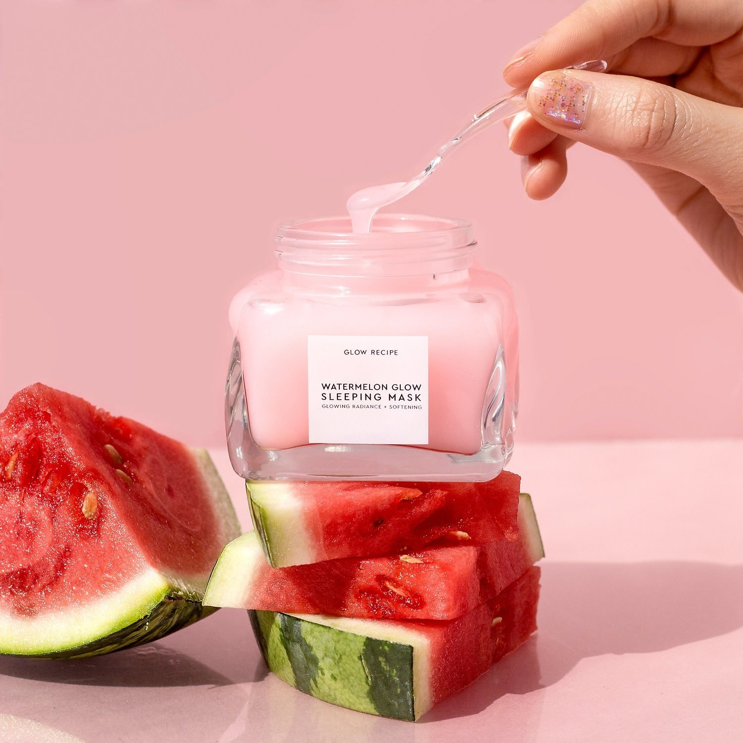 """clear jar with pink product labeled """"watermelon glow sleeping mask"""""""