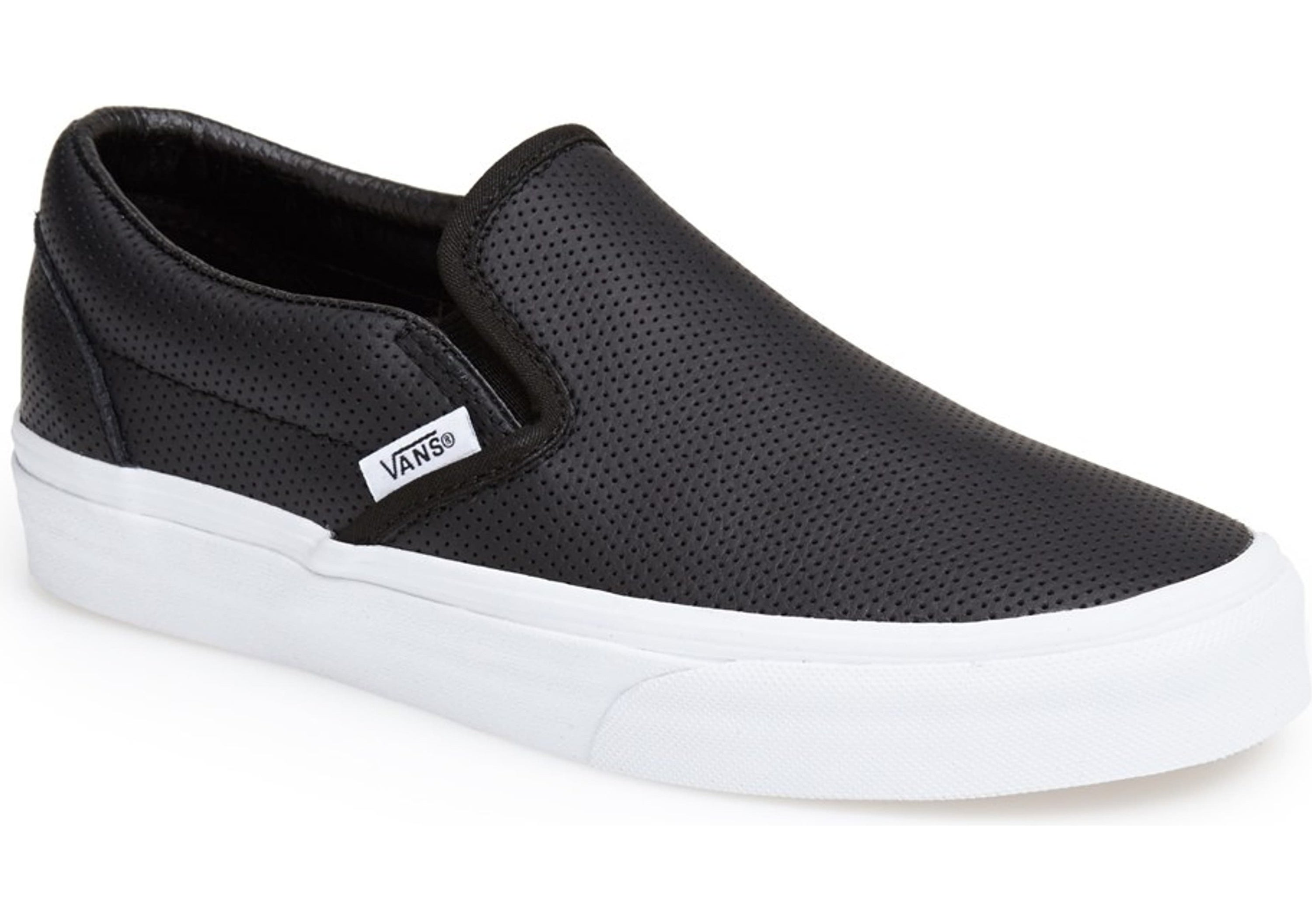 black slip-on sneakers with white sole