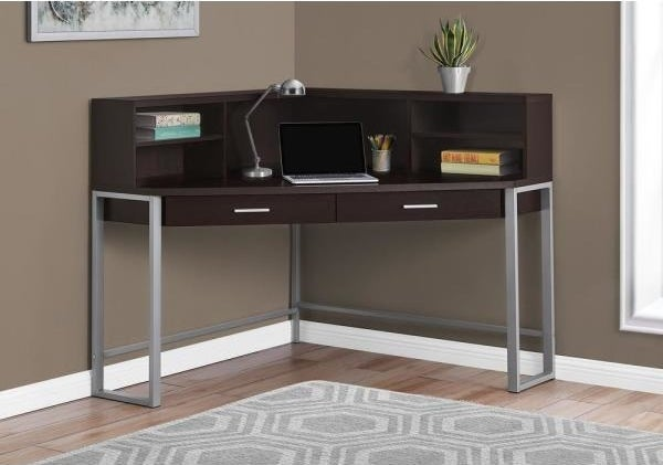 The 48 in. Corner Cappuccino 2-Drawer Computer Desk with Shelf in the corner of an office