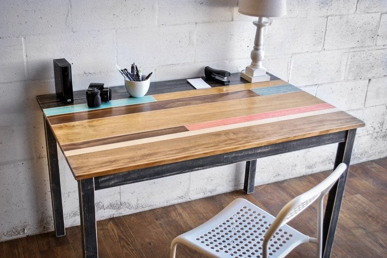 The Distressed Wood Desk or Table with Wood Legs