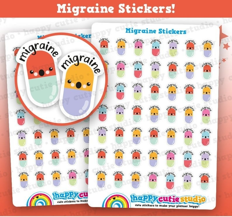 "The stickers, which are shaped like colorful pill capsules with surprised faces under the word ""migraine"""