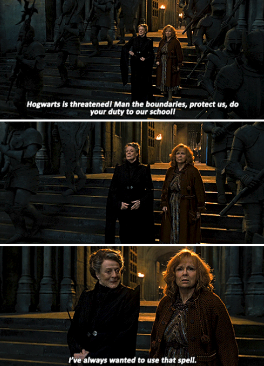 Professor McGonagall casting a spell to protect Hogwarts during the Battle of Hogwarts