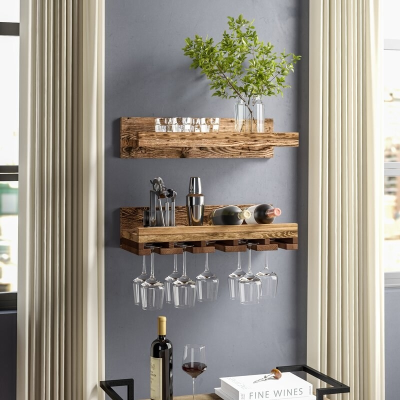 The wine rack mounted on wall