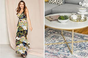 to the left: sofia vergara in a dress, to the right: a faux marble coffee table