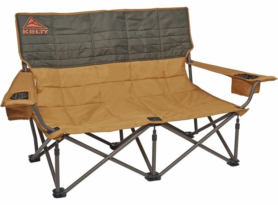 Kelty's loveseat camping chair with cup holders on each arm