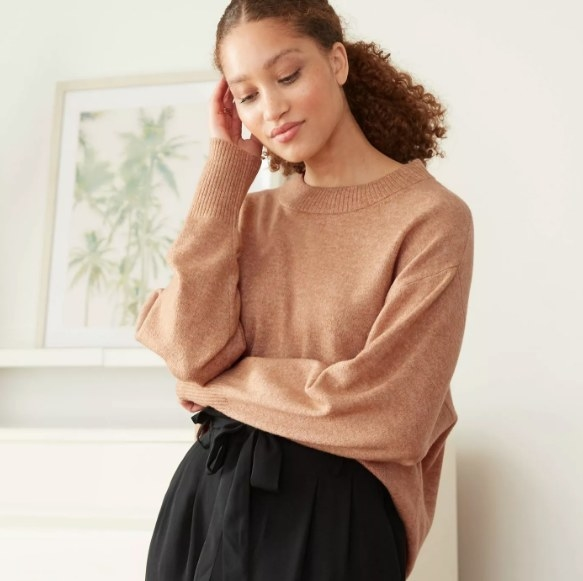 Model wearing the brown pullover sweater