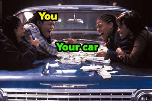 "The ""Set it Off"" characters are laying on a car with a pile of money while T.T. is labeled ""You,"" and the vehicle is labeled, ""Your car"""