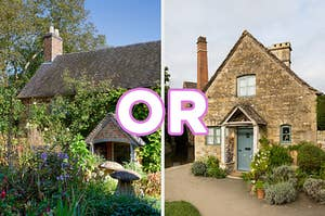 "On the left, a brick cottage surrounded by wildflowers and mushrooms, and on the right, a quaint stone cottage with ""or"" typed in between the two images"