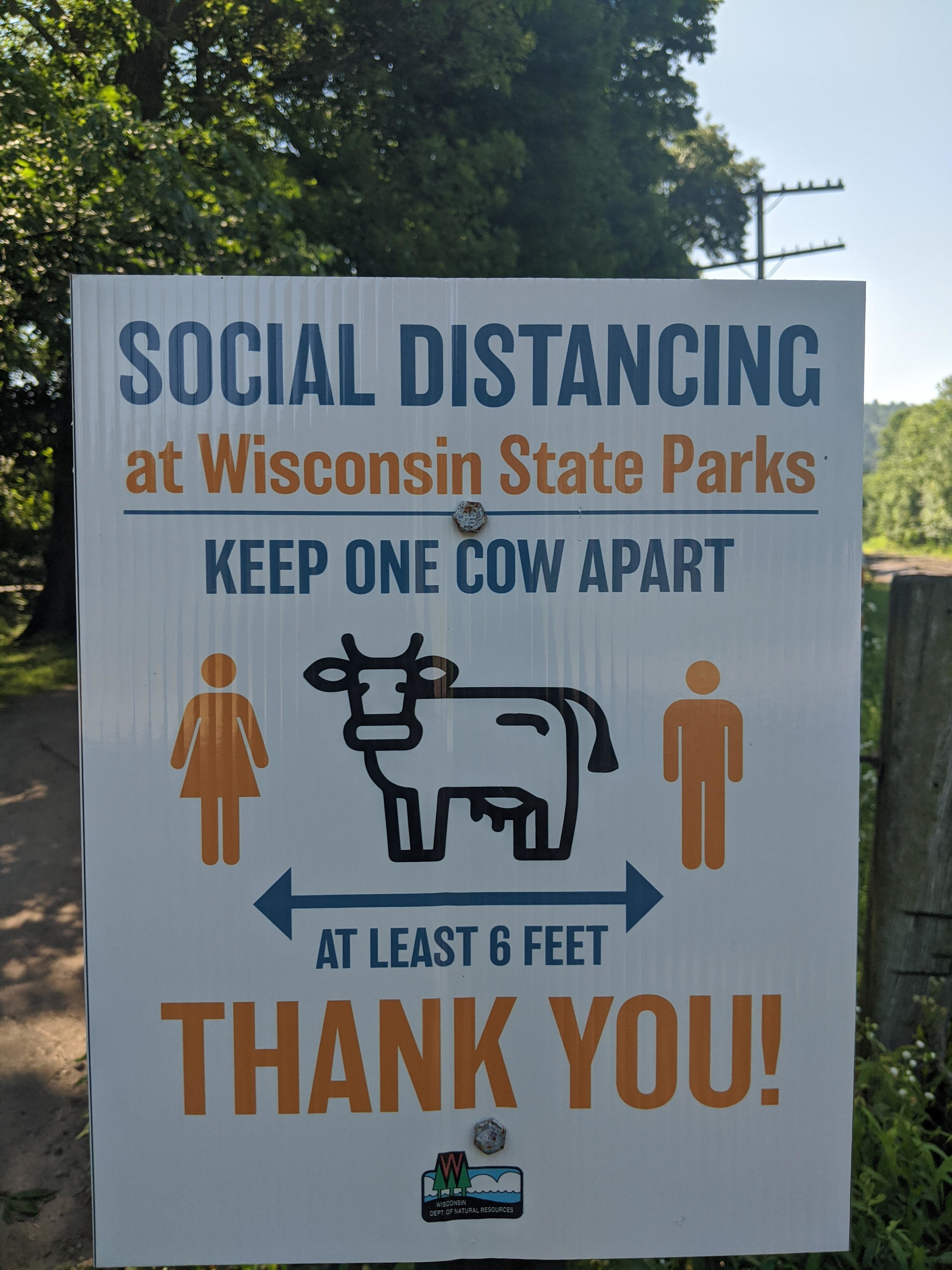 A sign in a park