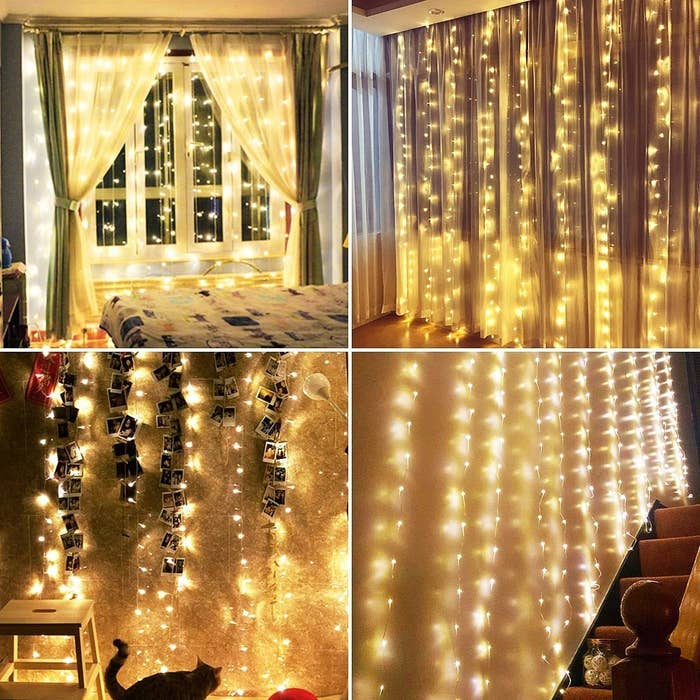 A collage of string lights hung on walls and in front of windows
