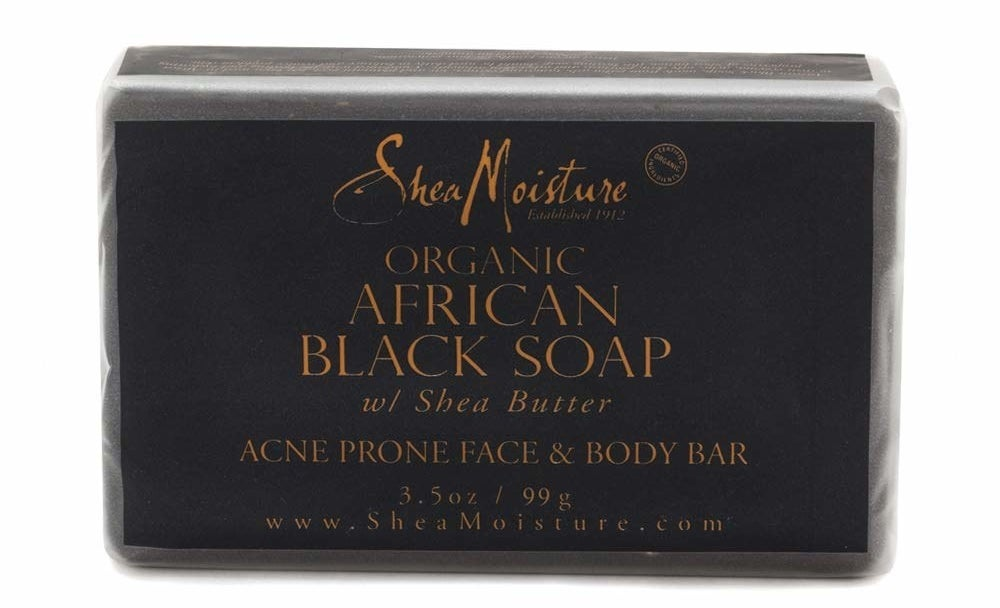 Product photo showing bar of Shea Moisture Organic African Black Soap