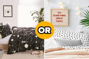 Two room designs: one with a dark, celestial comforter and plants, the other with star lights, soft colors, and a positive sign