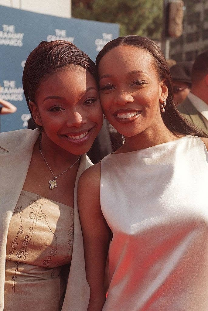 Monica and Brandy attend the 1999 Grammys.