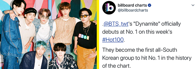 Bts Make Billboard Chart History With Dynamite No 1