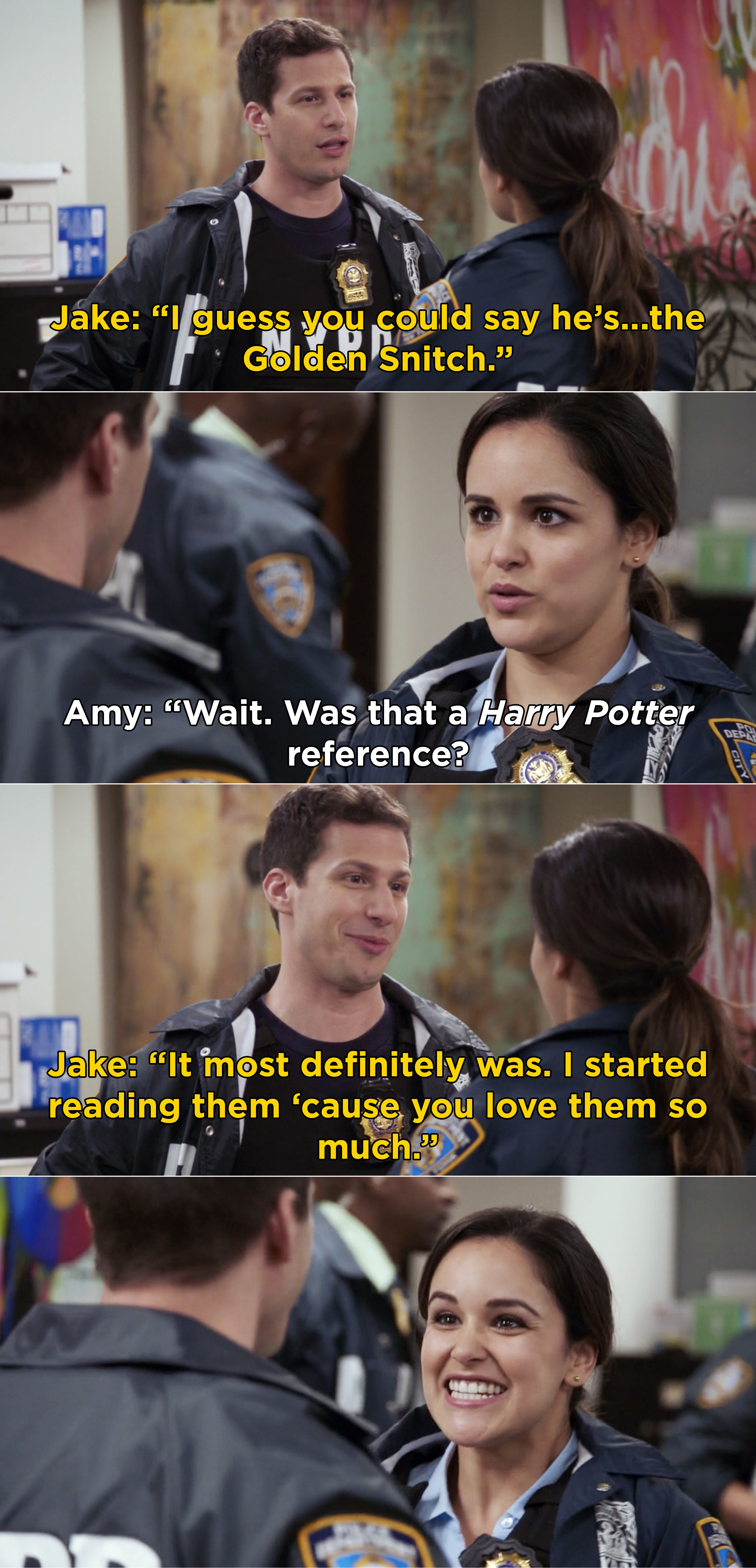 """Jake making a """"Harry Potter"""" reference while working a case and telling Amy he started reading the books"""