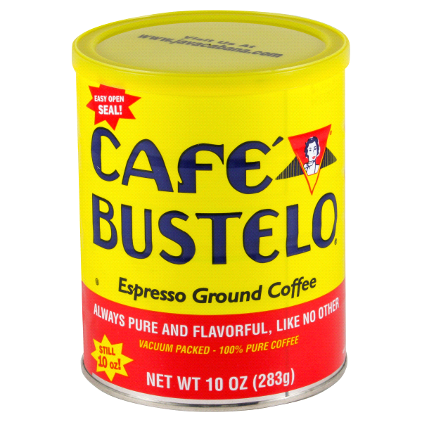 A yellow red can of Café Bustelo coffee