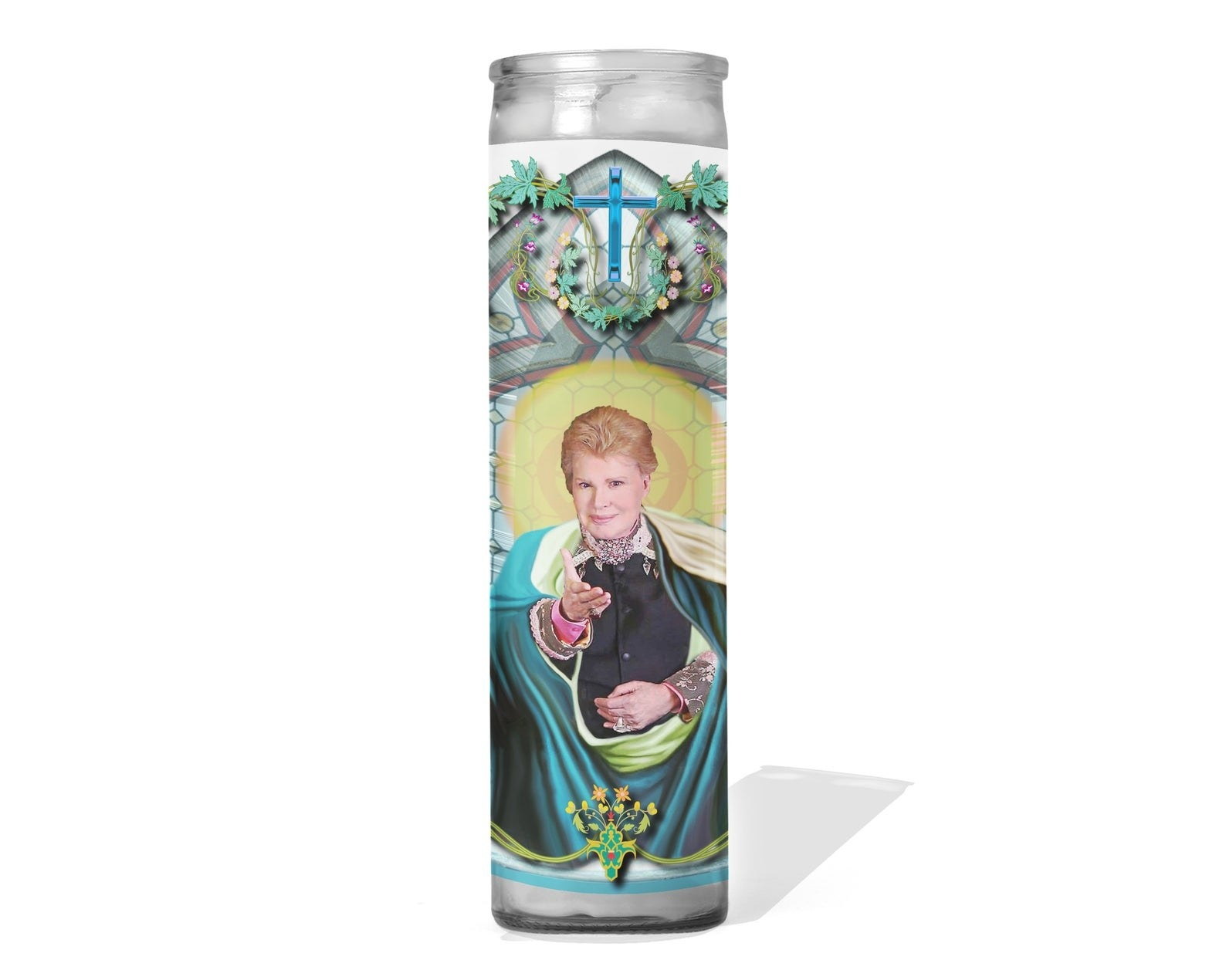 Tall glass candle holder with image of Walter Mercado reaching out his hand