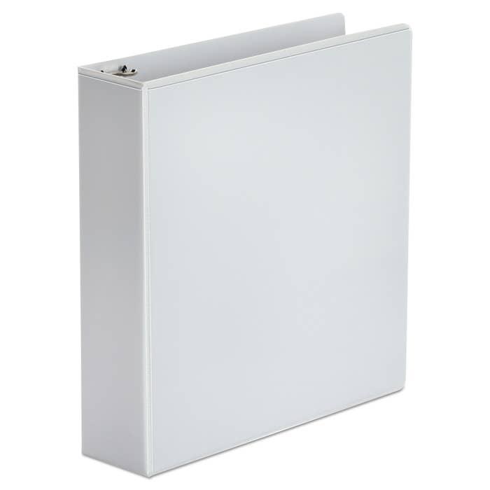 A white slip-front binder