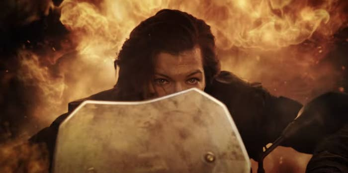 In the film Milla Jovovich rides a motorcycle away from an explosion