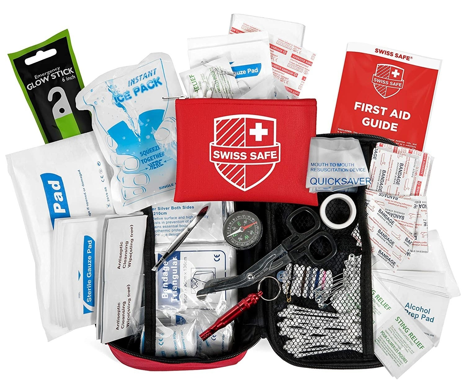 A Swiss Safe First Aid Kit that zips open into two halves with mesh components that hold all of the medical pieces
