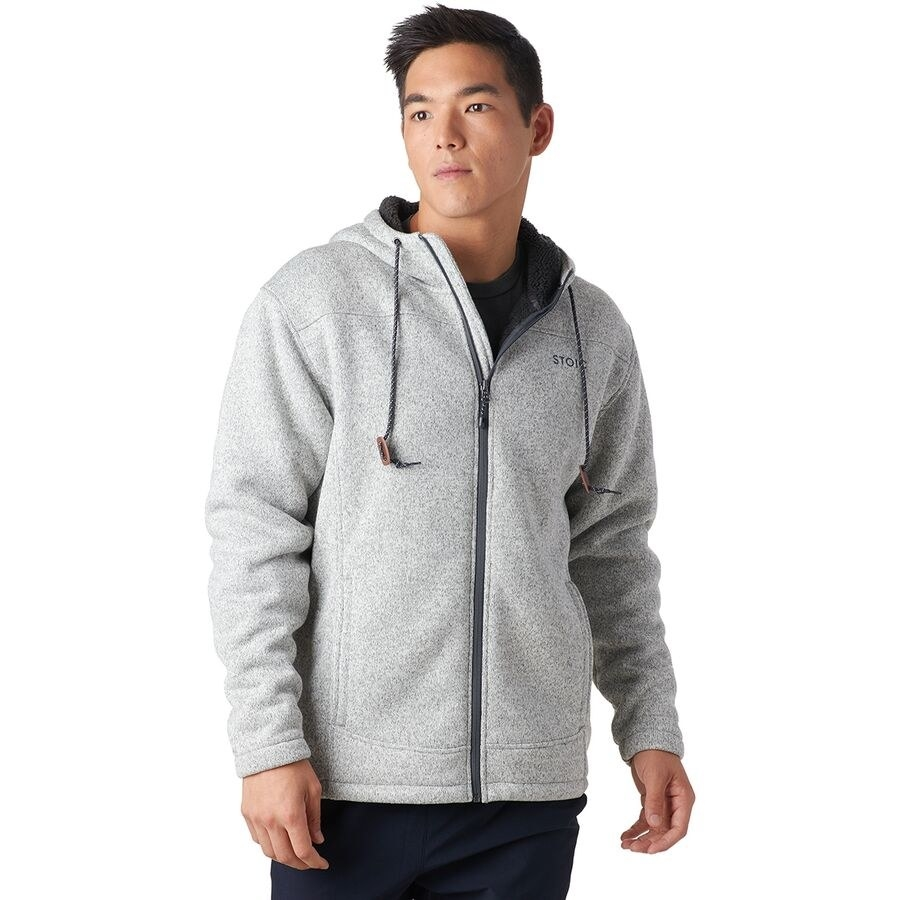 Stoic Sherpa Lined sweater fleece jacket with a hood and drawstrings