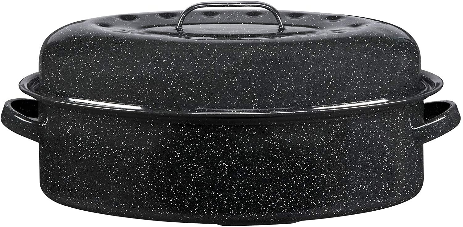 A black granite roasting pan