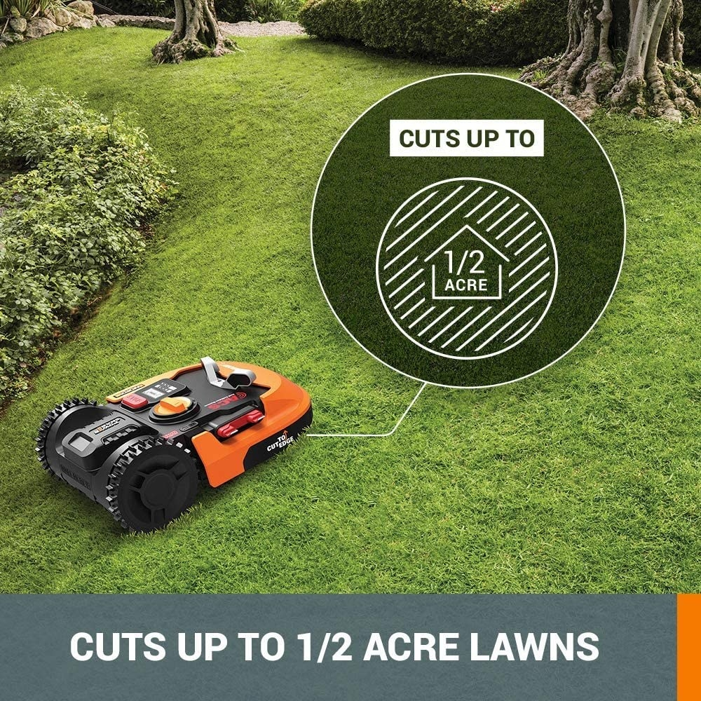 Infographic showing the robot lawn mower can cup up to 0.5-acre lawns