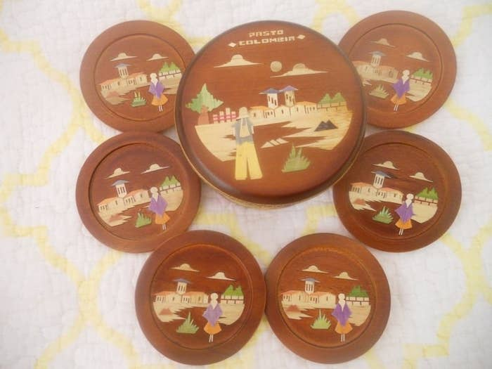 Wooden souvenir coaster set from Colombia